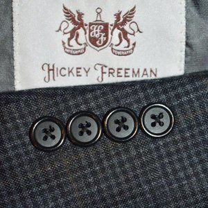 44L Hickey Freeman Gray Brown Windowpane blazer
